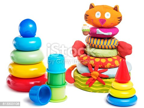 873187696 istock photo different baby pyramid toys isolated 813303108