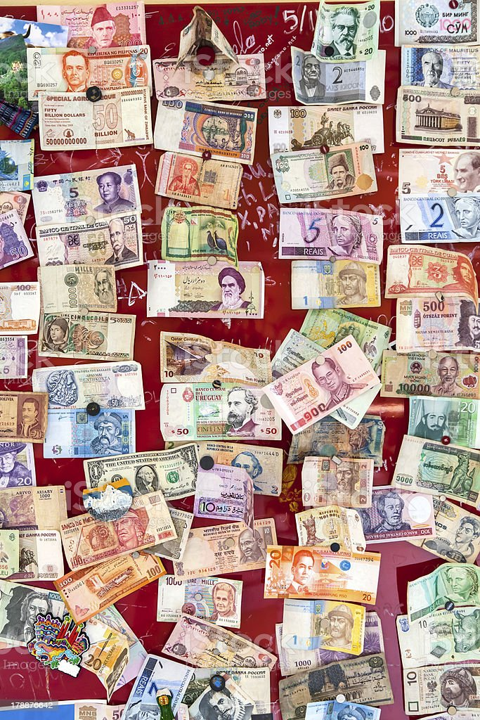 Different banknotes from countries all over the world stock photo