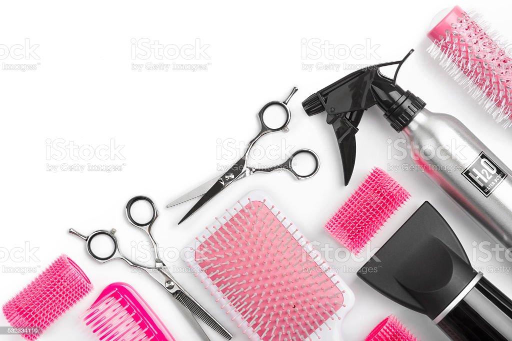Diferentes loja de barbeiro ferramentas isolado no fundo branco com espaço para texto - foto de acervo