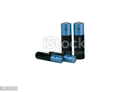 istock Different batteries, type AAA, type AA, white background, isolated 651761128