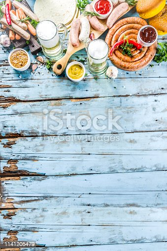 istock Different bbq picnic party food with beer 1141205479