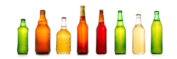 Different beer bottles with water drops collection stock photo
