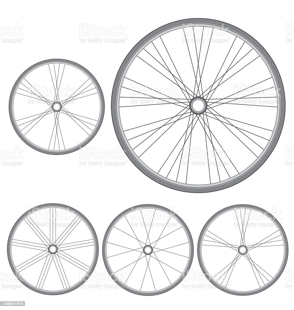 different bicycle wheels on a white background photo libre de droits