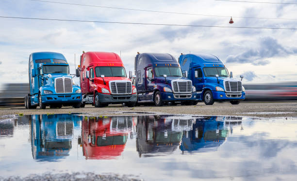 DIfferent big rigs semi trucks standing in row on the parking lot with reflection in water after the rain stock photo