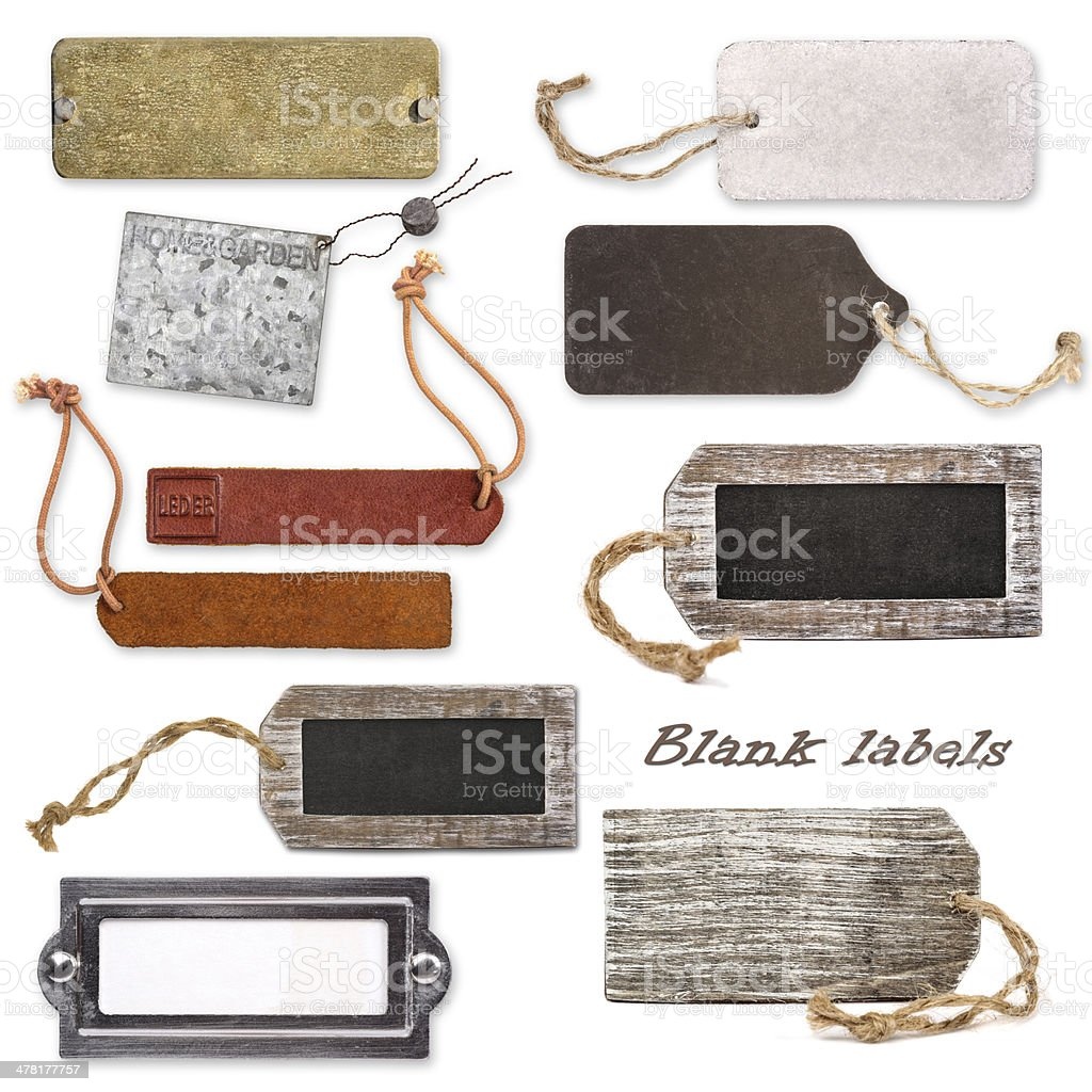 Different blank labels stock photo