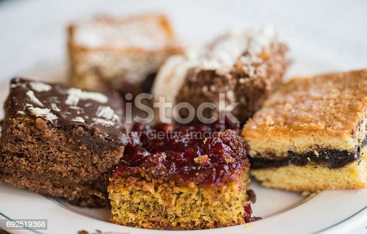 different cakes on plate