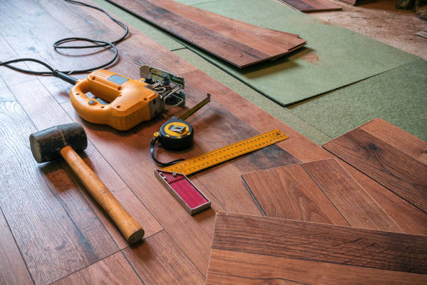different carpenter tools stock photo