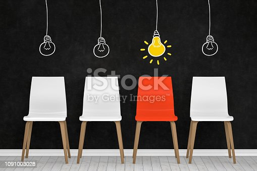 istock Different chair, light bulb, teamwork and leadership concept in office. 1091003028