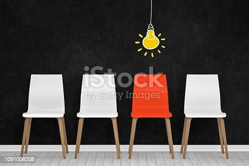 istock Different chair, light bulb, teamwork and leadership concept in office. 1091006208