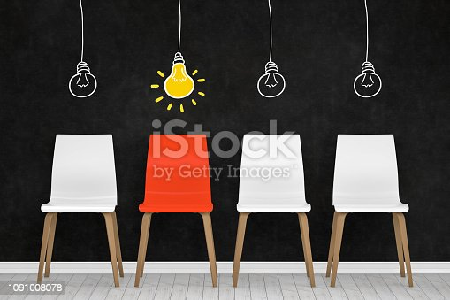 istock Different chair, light bulb, teamwork and leadership concept in office. 1091008078