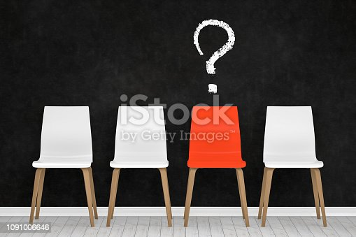 istock Different chair, question mark, teamwork and leadership concept in office. 1091006646