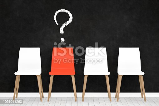 istock Different chair, question mark, teamwork and leadership concept in office. 1091011260