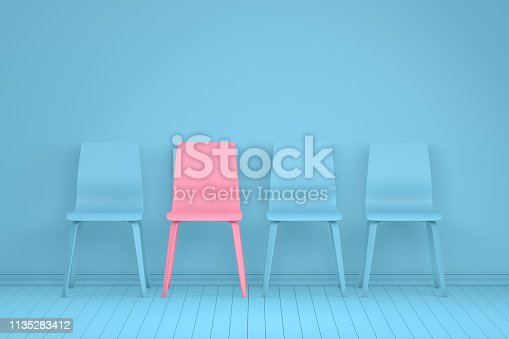istock Different chair, teamwork and leadership concept in office, minimal design 1135283412