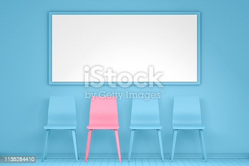 istock Different chair, teamwork and leadership concept in office, minimal design 1135284410