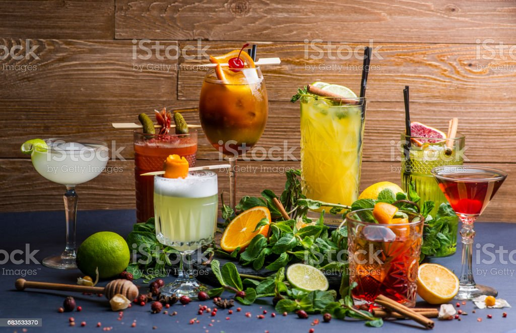 Different cocktails stock photo