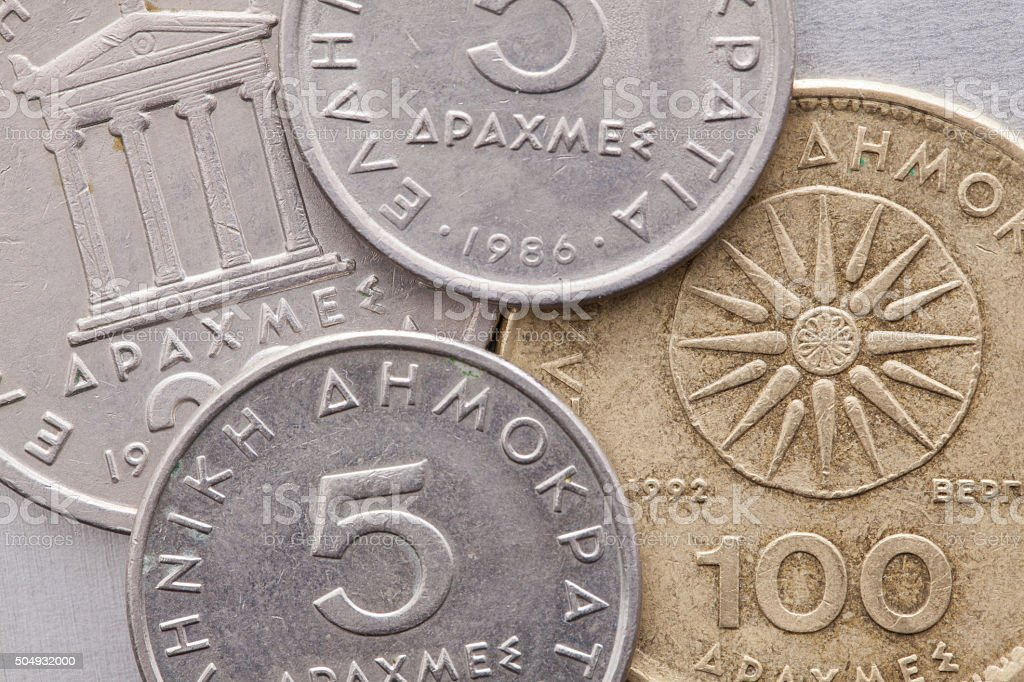 Verschiedene Münzen Von Alte Griechische Geld Stock Fotografie Und