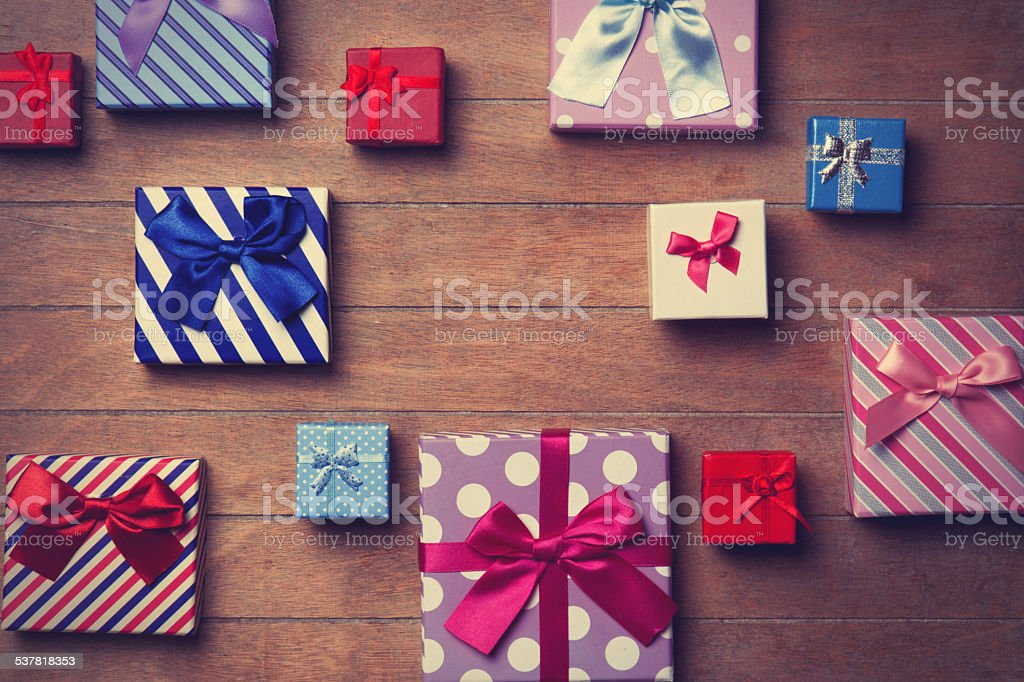 Different color gift boxes stock photo