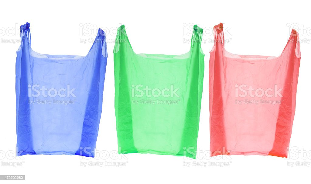 Different color plastic shopping bags stock photo