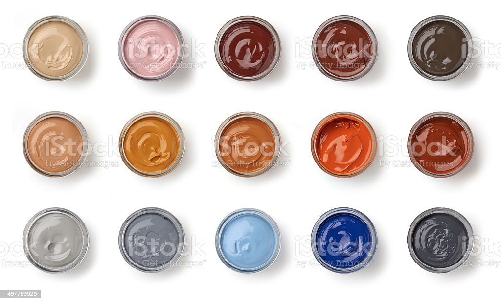 different color shoe grease jars stock photo