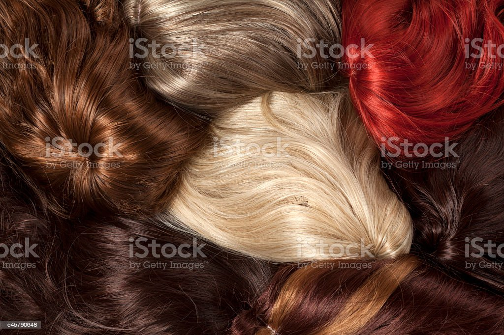 different color wigs stock photo