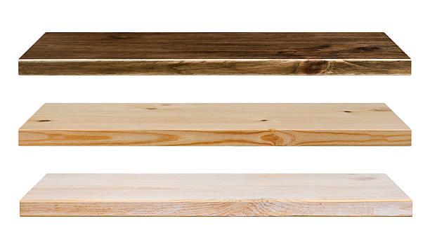 Couleur différente des étagères en bois isolé sur blanc - Photo