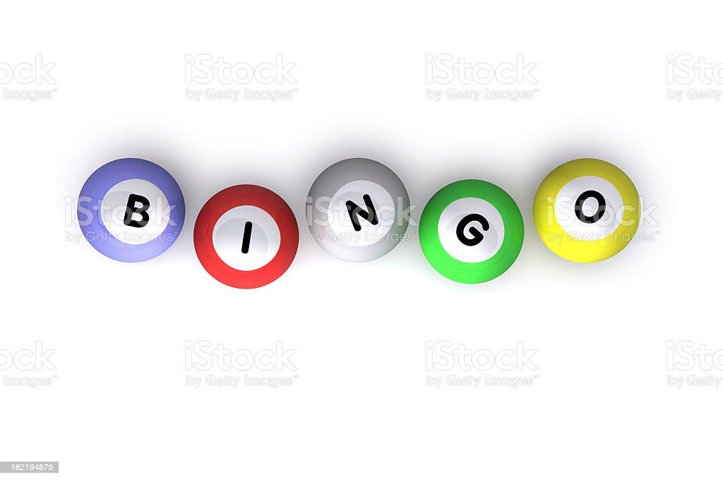 Different colored bingo balls that spell bingo stock photo