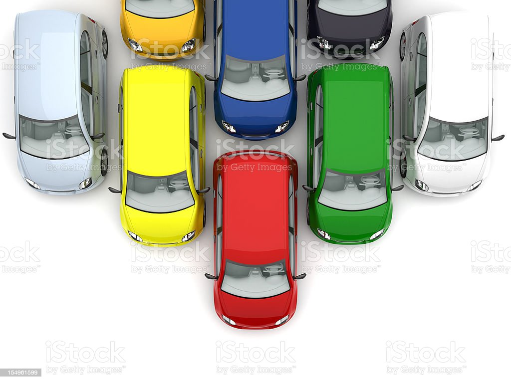 Different colored cars lined up moving down the screen royalty-free stock photo
