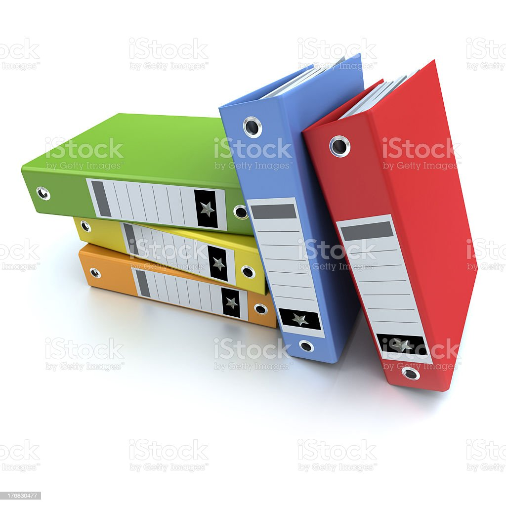 5 different colored folders stacked against each other royalty-free stock photo