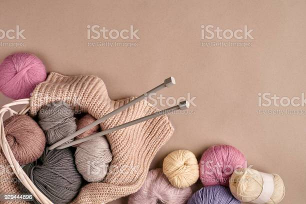 Different colored yarn in basket with knitting needles top view picture id929444896?b=1&k=6&m=929444896&s=612x612&h=fdtie7e8ieb1lz9rfzgp y4xctejy53m8zn7rxyhdpc=