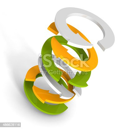 istock Different Colorful Cycled Arrows Stack 486628116