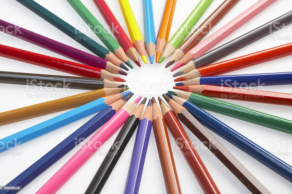 different coloured pencils on white background royalty free stockfoto