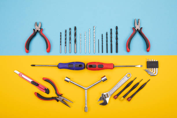 Different construction kit are hanging on background stock photo