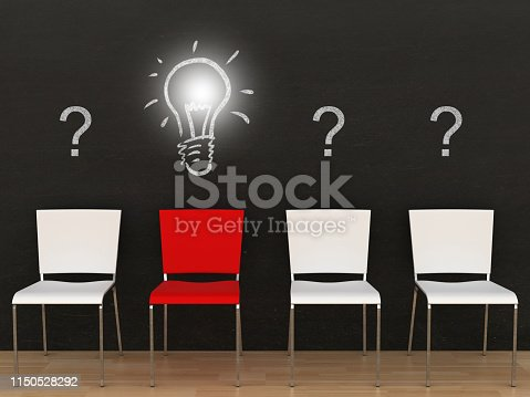 istock Different creative idea light bulb office chair blackboard 1150528292