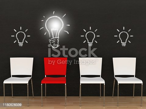 istock Different creative idea light bulb office chair blackboard 1150528339