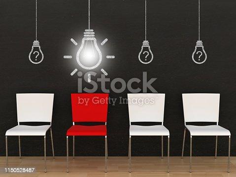 istock Different creative idea light bulb office chair blackboard 1150528487