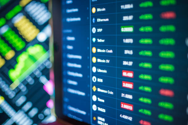 Different cryptocarrencies stockmarket and oil price  exchange to dollar rate Statistics comparison on monitor display. stock photo