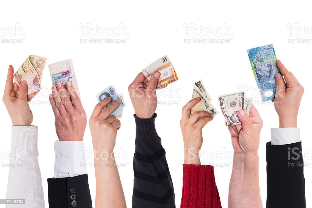 different currencies concept global financing stock photo
