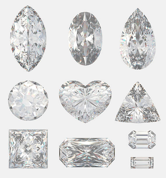 different cuts of a diamonds - ellipse stock photos and pictures