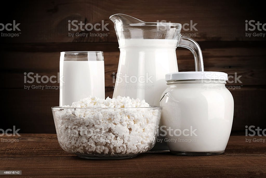 Different dairy products stock photo