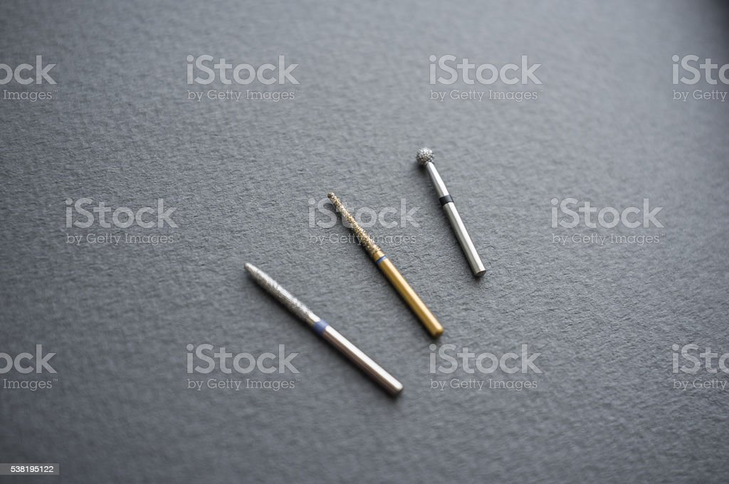 Different dental bur tools close-up stock photo
