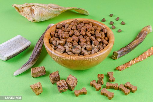 istock different dog food and snack, chicken filet, antlers, lung, ear on green background 1152361895