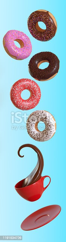 istock Different donuts and coffee fly on a blue background 1191534726