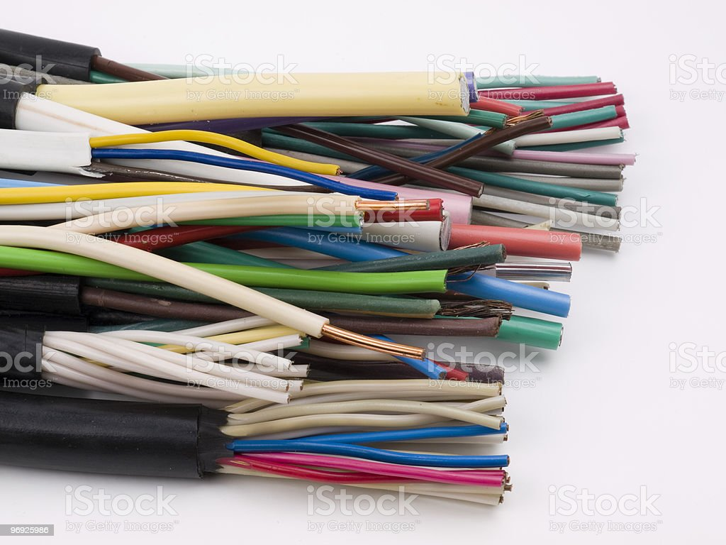 Different electric cables royalty-free stock photo