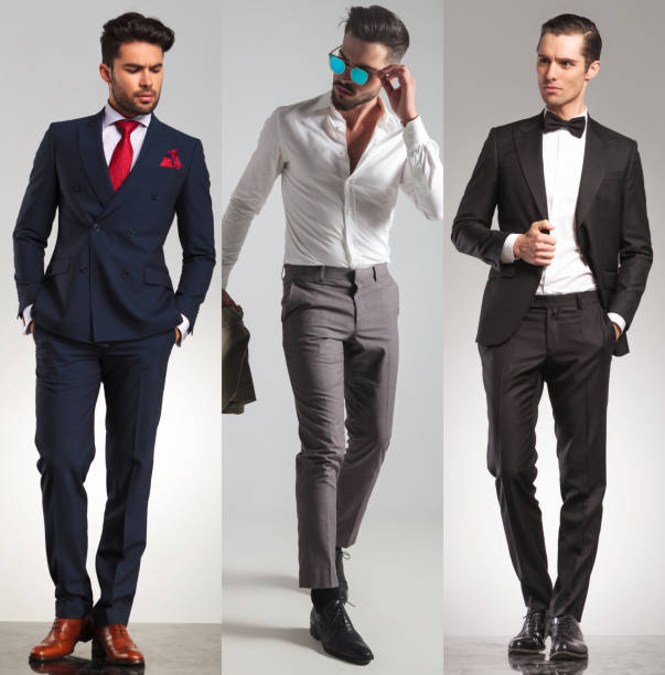 3 verschiedene elegante junge männer - budapester schuhe stock-fotos und bilder