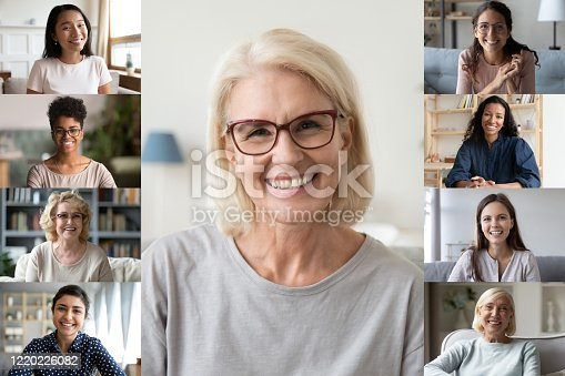 Different ethnicity and age women photo collage webcam view. Senior and young ladies make video call chatting with friends using video conference application, modern tech easy convenient usage concept