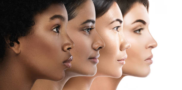 different ethnicity women - caucasian, african, asian and indian. - beauty foto e immagini stock