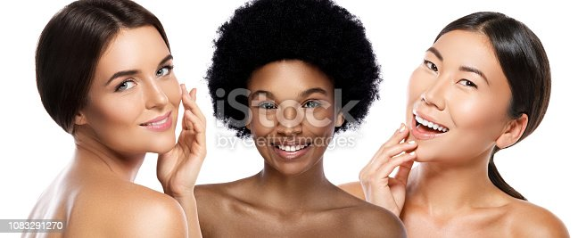Multi-Ethnic beauty or interracial friendship. Different ethnicity women - Caucasian, African, Asian on white background