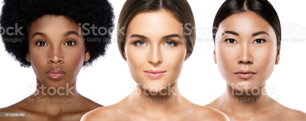 Multi-ethnic beauty. Different ethnicity women - Caucasian, African,...