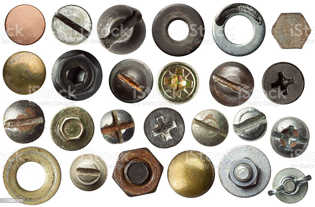 Different examples of screw heads stock photo