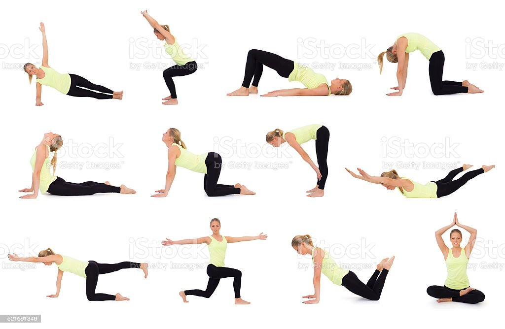 Different exercises for workout sessions at gym and home stock photo